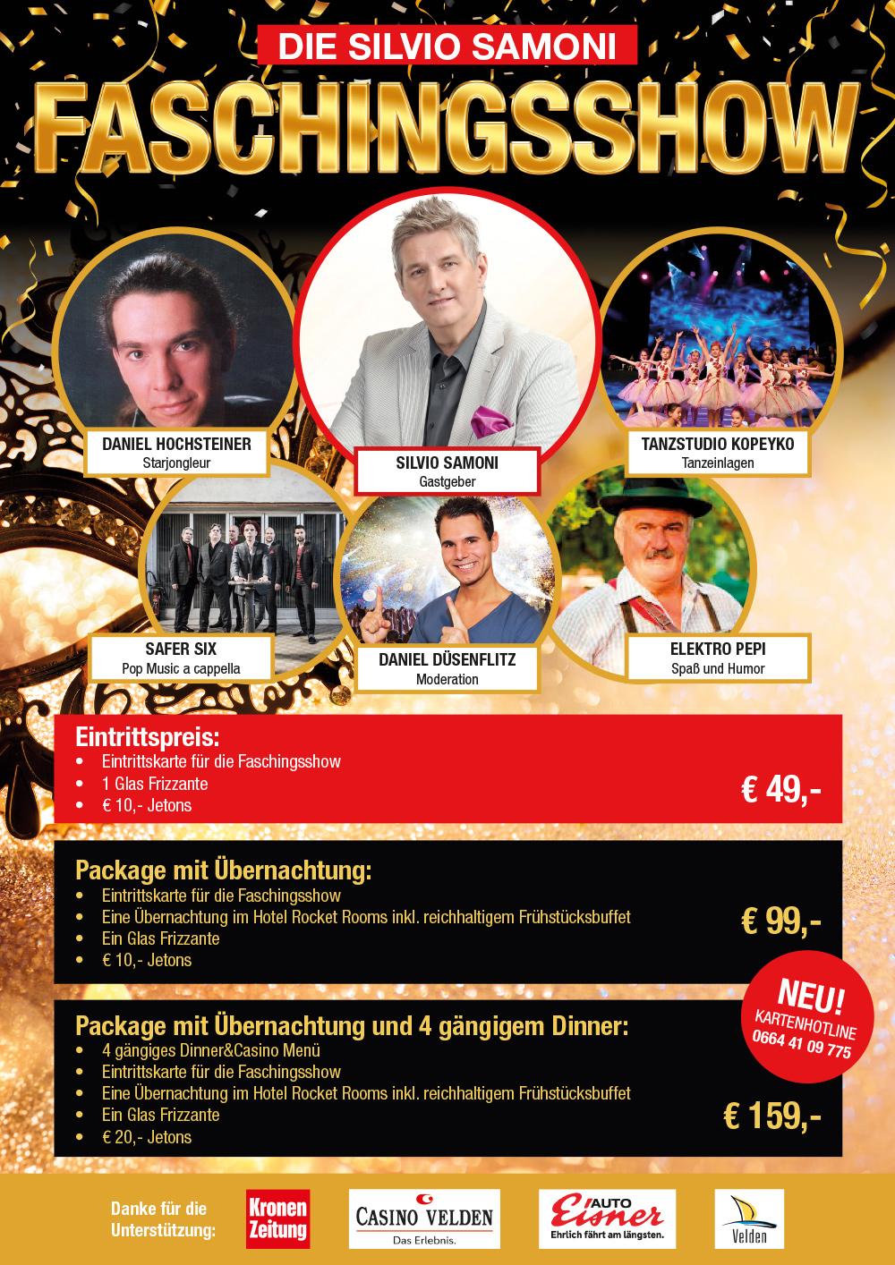 Die Silvio Samoni Faschingsshow Im Casino Velden Am Wörthersee Am Samstag, Den 15.02.2020 Beginn 19:30 Uhr