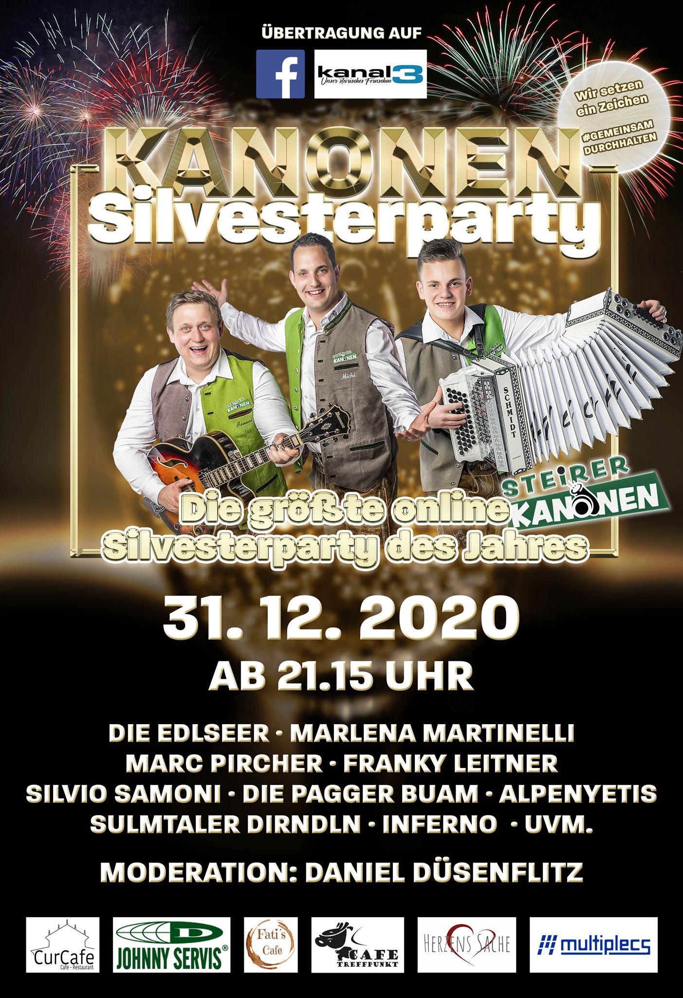 31.12.2020 Silvesterparty ab 21:15 Uhr Übertragung auf Facebook/Kanal3